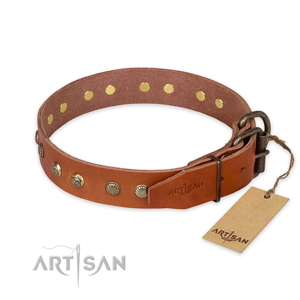 Reliable hardware on full grain leather collar for your beautiful four-legged friend