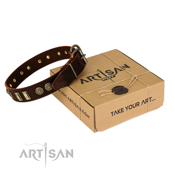 Reliable buckle on full grain leather dog collar for your four-legged friend
