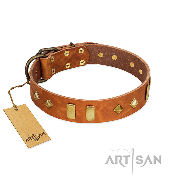 Fancy walking reliable full grain genuine leather dog collar with adornments