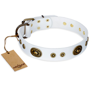 """Magnetic Appeal"" FDT Artisan White Leather Bullmastiff Collar with Old Bronze Look Decorations"