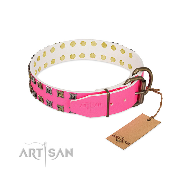 Full grain genuine leather collar with significant studs for your pet