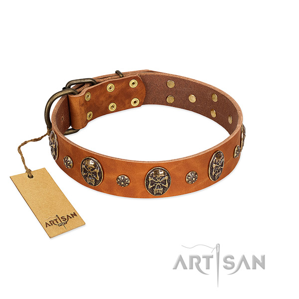 Easy wearing natural genuine leather collar for your four-legged friend