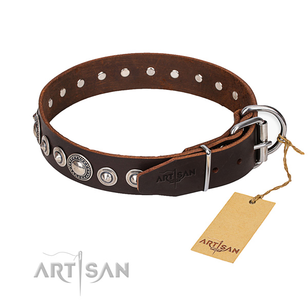 Genuine leather dog collar made of reliable material with rust-proof buckle