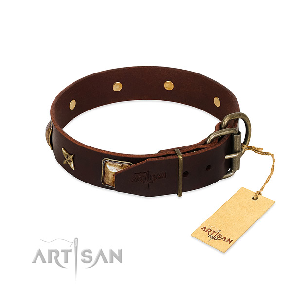 Genuine leather dog collar with rust-proof hardware and adornments