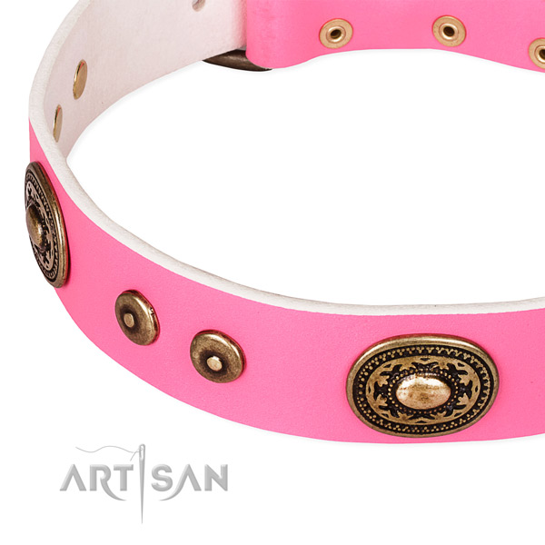 Leather dog collar made of high quality material with decorations