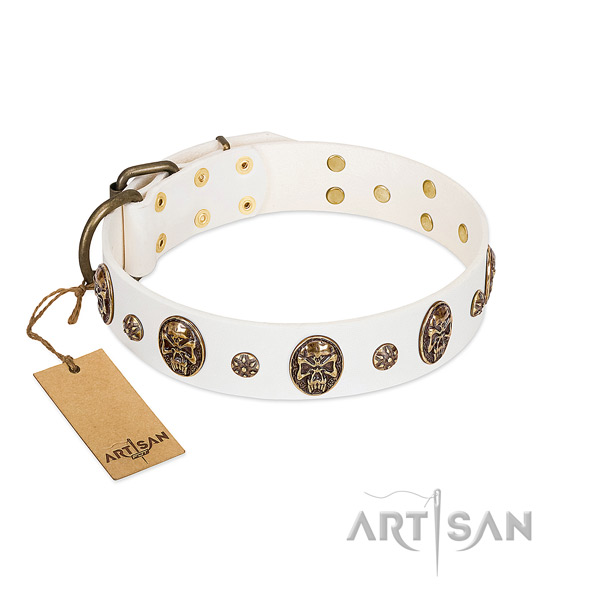 Stylish design full grain natural leather collar for your dog