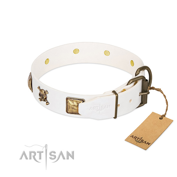 Awesome full grain genuine leather dog collar with corrosion proof embellishments