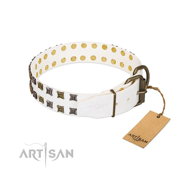 Full grain leather collar with inimitable decorations for your doggie