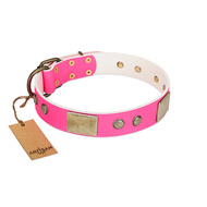 """Flower Parade"" FDT Artisan Pink Leather Bullmastiff Collar with Plates and Studs"