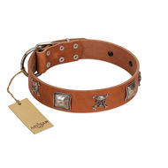 """Amorous Escapade"" Embellished FDT Artisan Tan Leather Bullmastiff Collar with Chrome Plated Crossbones and Plates"