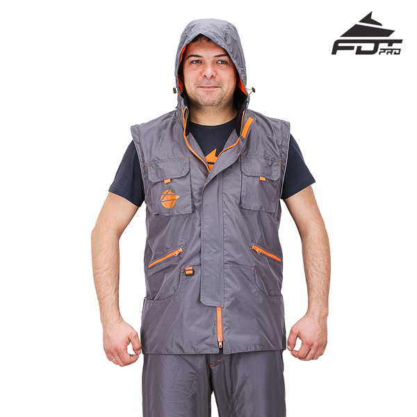 Dog Trainer Jacket of Grey Color FDT Professional Design with Hood