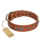 """Brave Spirit"" Handmade FDT Artisan Designer Tan Leather Bullmastiff Collar with Shields"