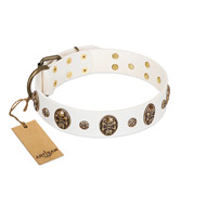 """Magic Bullet"" FDT Artisan White Leather Bullmastiff Collar with Studs and Skulls"