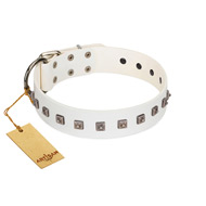 """True Grace"" Premium Quality FDT Artisan White Designer Leather Bullmastiff Collar"