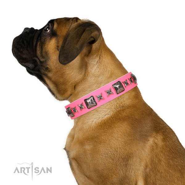 Exceptional decorated natural leather dog collar for comfortable wearing