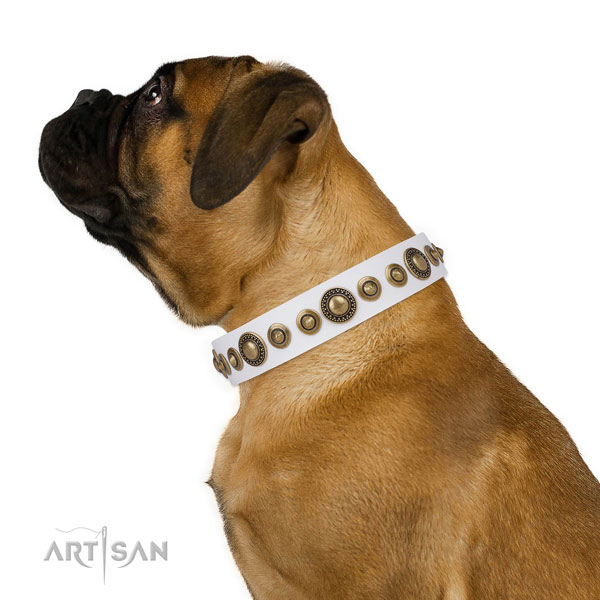 Durable buckle and D-ring on full grain leather dog collar for walking in style