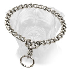 Choke Bullmastiff Collar Chrome Plated O Ring