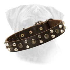 3 Rows Spikes And Studs Bullmastiff Leather Collar