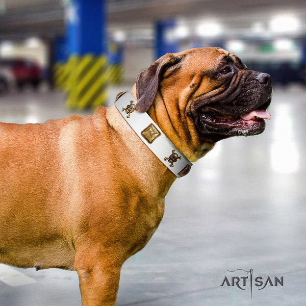 Bullmastiff fancy walking full grain genuine leather collar with decorations for your dog