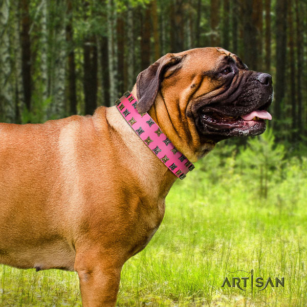 Bullmastiff easy wearing genuine leather collar with decorations for your doggie