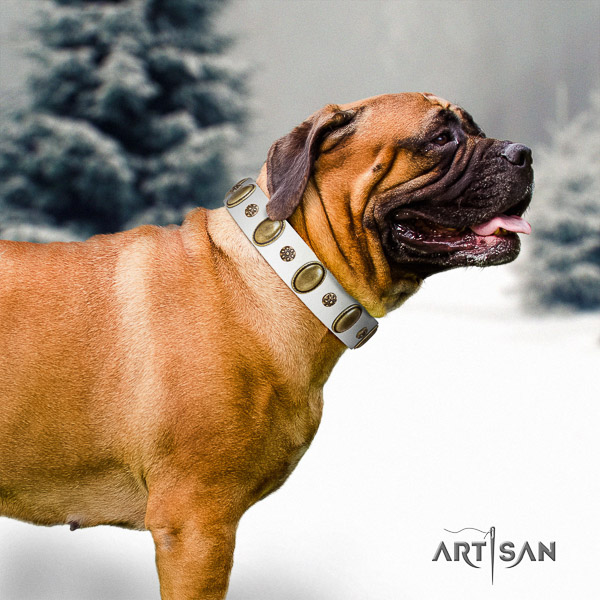 Bullmastiff easy wearing full grain natural leather collar with decorations for your doggie