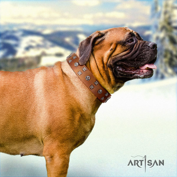 Bullmastiff handmade natural genuine leather collar with studs for your dog