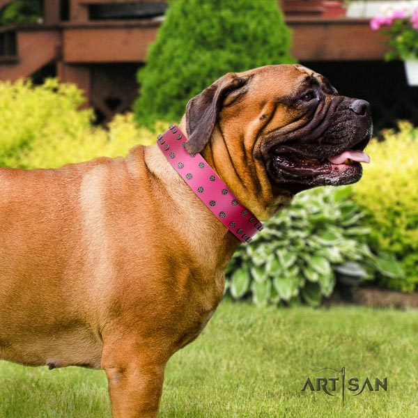 Bullmastiff comfortable natural genuine leather collar with decorations for your canine