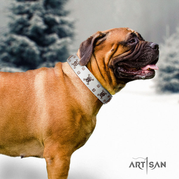 Bullmastiff leather dog collar with adornments for your handsome dog