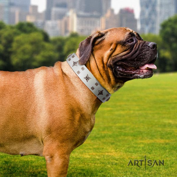 Bullmastiff remarkable natural genuine leather collar with studs for your doggie