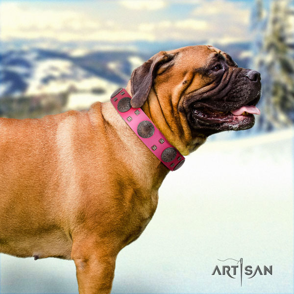 Bullmastiff top quality natural genuine leather collar with decorations for your dog