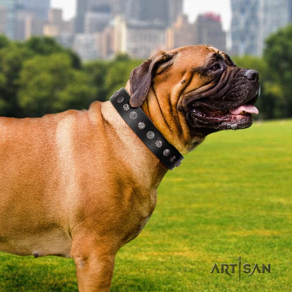 Bullmastiff easy adjustable full grain genuine leather collar with embellishments for your doggie