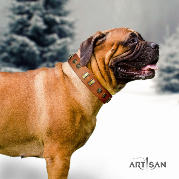 Bullmastiff comfortable wearing dog collar of top notch quality genuine leather