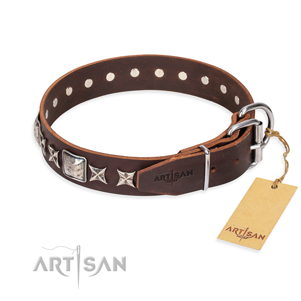 Handy use full grain natural leather collar with decorations for your pet