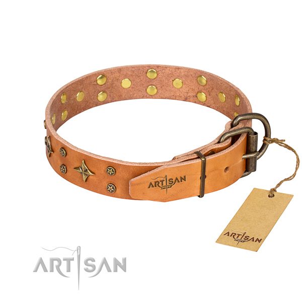 Handy use full grain natural leather collar with embellishments for your doggie