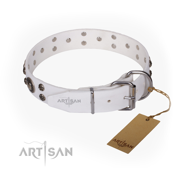 Everyday walking natural genuine leather collar with adornments for your doggie