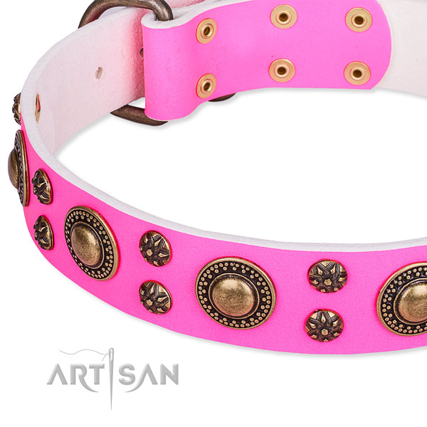 Natural genuine leather dog collar with inimitable studs