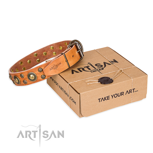 Natural genuine leather dog collar with decorations for everyday walking