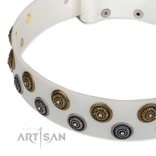 Genuine leather dog collar with exquisite adornments