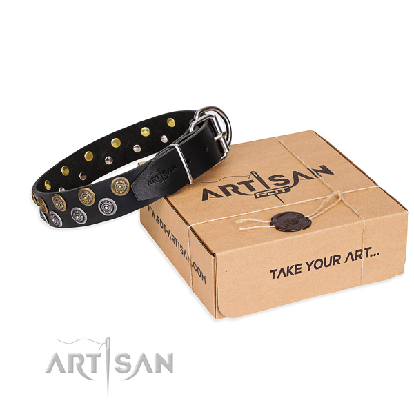 Leather dog collar with decorations for handy use
