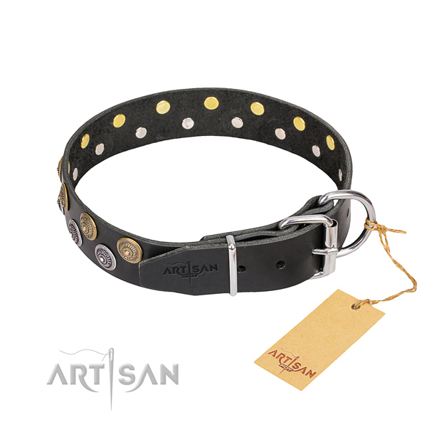 Stylish walking full grain genuine leather collar with decorations for your pet