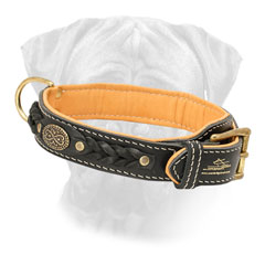 Bullmastiff Collar Leather Braid Designed