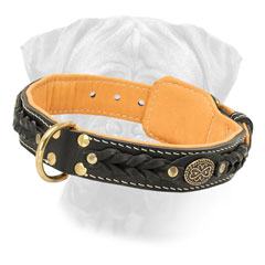 Nappa Padded Bullmastiff Leather Collar