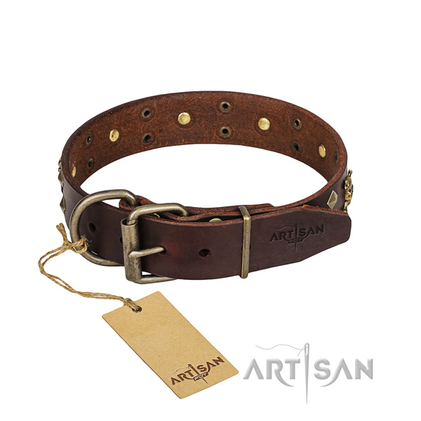 Hardwearing leather dog collar with non-corrosive hardware