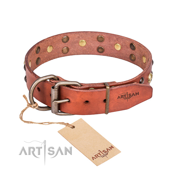 Leather dog collar with polished edges for comfy walking
