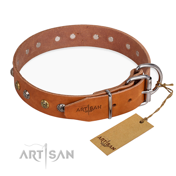 Full grain genuine leather dog collar with trendy rust-proof decorations