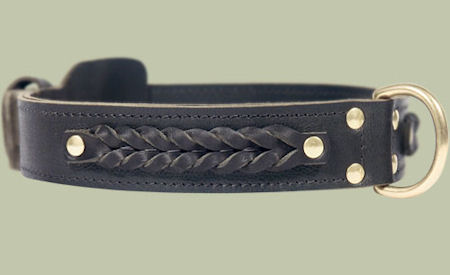 Center D-Ring Leather Collar for Bullmastiff