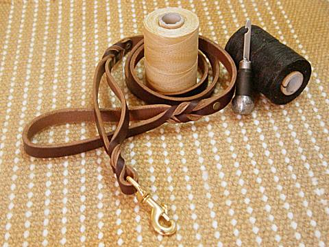 Leather Dog Leash With Extra Handle for Bullmastiff