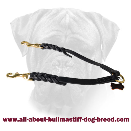 Leather Braided Coupler Two Dogs for Bullmastiff