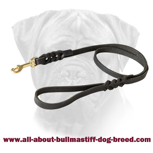 Braided Bullmastiff Leather Leash Handcrafted for Walking