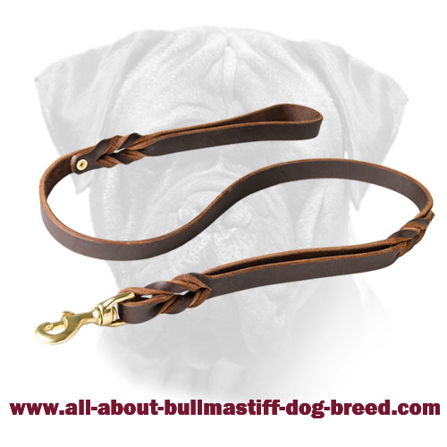 Bullmastiff Leather Leash Extra Handle for walking